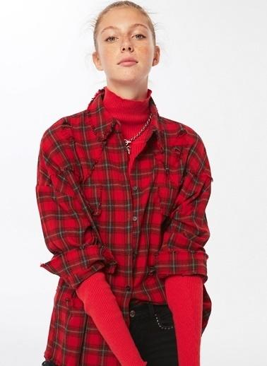 Twist Kareli Gömlek Kırmızı